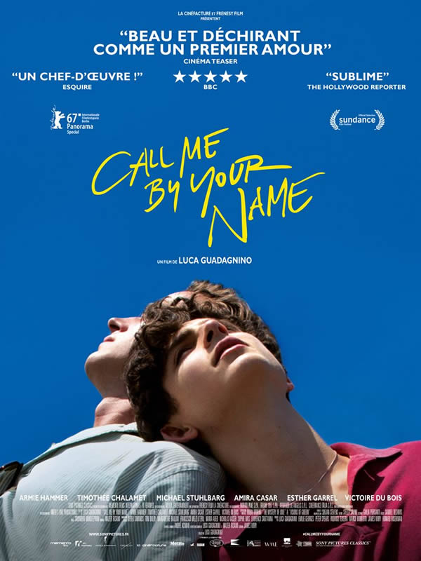 affiche CALL ME BY YOUR NAME Luca Guadagnino